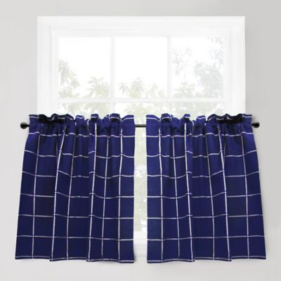 Park B. Smith Durham Square 36-Inch Window Curtain Tier Pair in Indigo