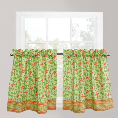 Park B. Smith Boutique Flowers 24-Inch Window Curtain Tier Pair in Green