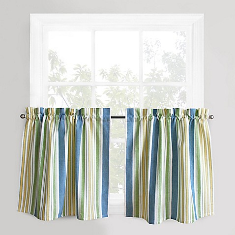 Buy Park B Smith Cape Cod Stripe 36 Inch Window Curtain Tier Pair In Blue Green From Bed Bath