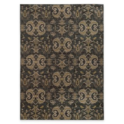 Oriental Weavers Heritage Scroll 2-Foot 7-Inch x 9-Foot 4-Inch Runner in Blue/Gold