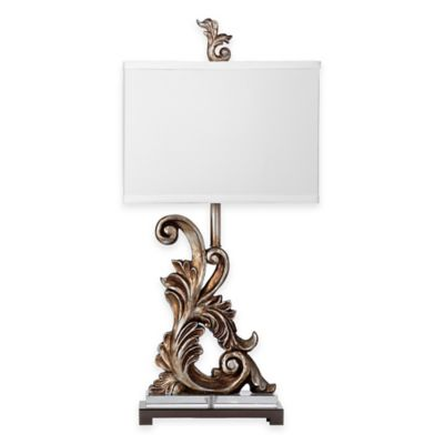 Bassett Mirror Company Brookings Table Lamp in Silver Leaf