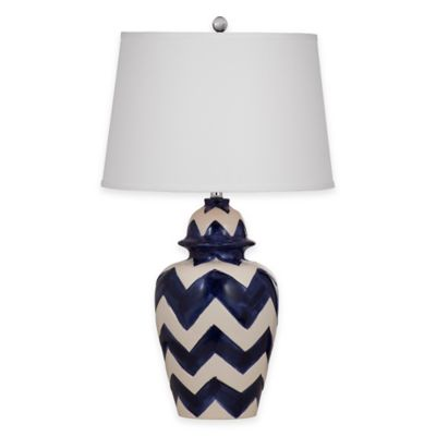 Bassett Mirror Company Russell Table Lamp in Royal Blue/White