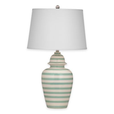 Bassett Mirror Company Sawyer Table Lamp in Aqua/White