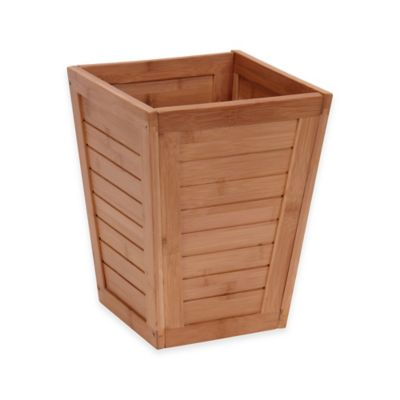Household Essentials Bamboo Slat 2.9-Gallon Trash Can