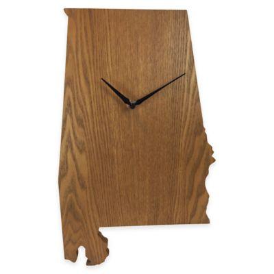 Alabama State Wood Grain Wall Clock