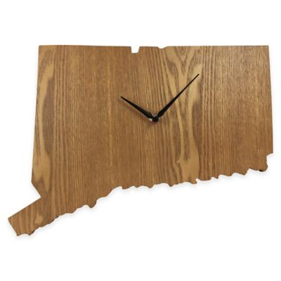 Connecticut State Wood Grain Wall Clock
