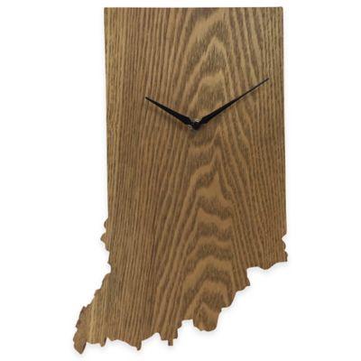 Indiana State Wood Grain Wall Clock