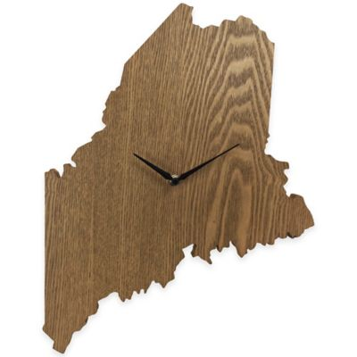 Maine State Wood Grain Wall Clock