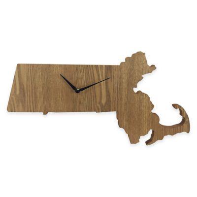Massachusetts State Wood Grain Wall Clock