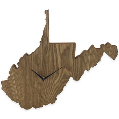 West Virginia State Wood Grain Wall Clock