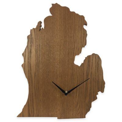 Michigan State Wood Grain Wall Clock