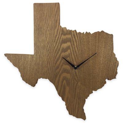 Texas State Wood Grain Wall Clock