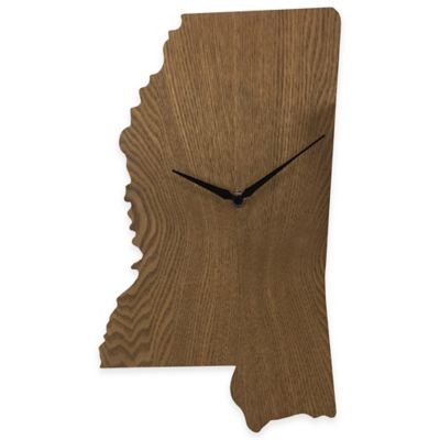 Mississippi State Wood Grain Wall Clock