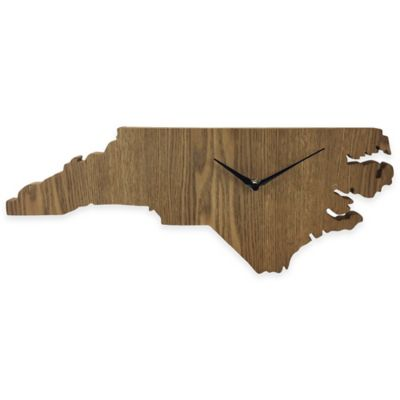 North Carolina State Wood Grain Wall Clock