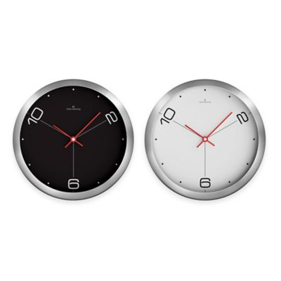 Oliver Hemming Duplex 3-Position Wall Clock in Black/Chrome