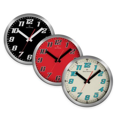 Oliver Hemming Duplex Chrome Steel Wall Clock in Red