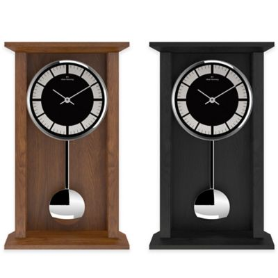 Oliver Hemming Shaker Pendulum Clock with Black Dial in Oak