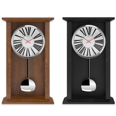 Oliver Hemming Shaker Pendulum Clock with White Roman Numeral Dial in Oak