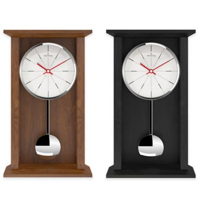 Oliver Hemming Shaker Pendulum Clock with Fine Line Dial in Oak