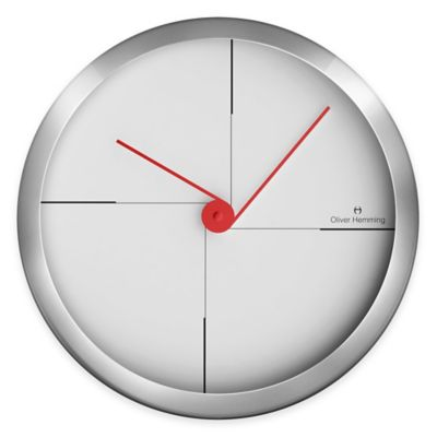 Oliver Hemming Duplex Off Center Hands Wall Clock in Chrome