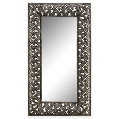 Stein World Flora Floor Mirror in Antiqued Silver