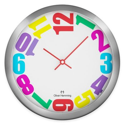 Oliver Hemming Duplex Rainbow-Colored Chasing Numbers Wall Clock in Chrome