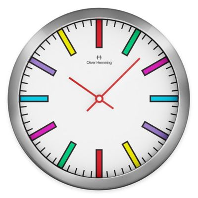 Oliver Hemming Duplex Rainbow Dial Wall Clock in Chrome