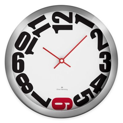 Oliver Hemming Duplex Chasing Numbers Wall Clock in Chrome