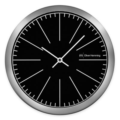 Oliver Hemming Duplex Black Dial Wall Clock in Chrome