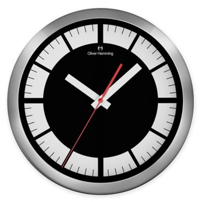 Oliver Hemming Duplex Border Wall Clock in Black/White