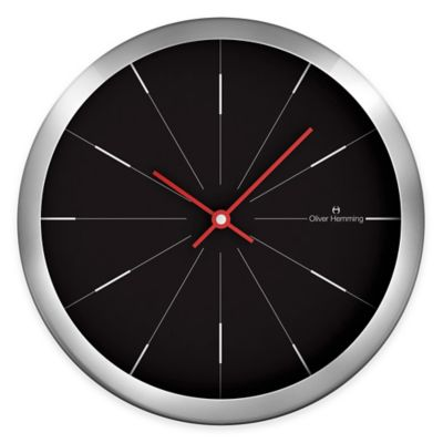 Oliver Hemming Duplex Fine Lines Wall Clock in Chrome/Black