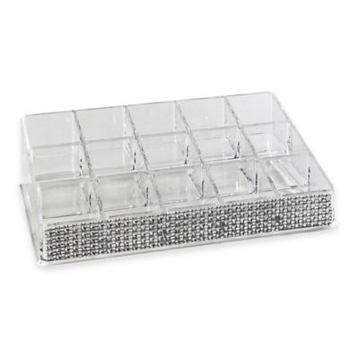 Laura Ashley® Imitation Pave Diamond 15-Section Cosmetic and Jewelry Holder