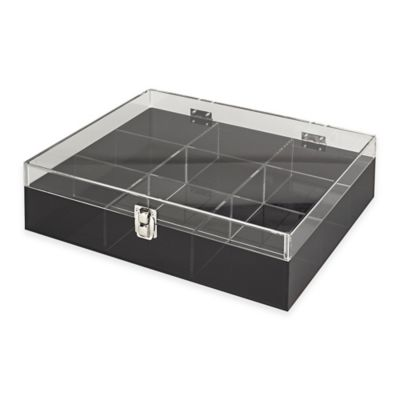 Acrylic 9-Section Etched Desk Organizer in Smoke Grey/Clear