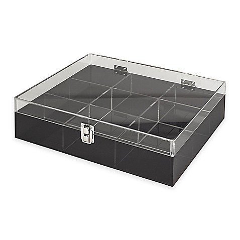 Buy acrylic 9 section etched desk organizer in smoke grey - Acrylic desk organizer ...