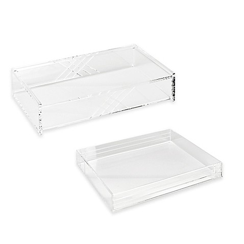 Acrylic line etched desk organizer collection in clear - Acrylic desk organizer ...