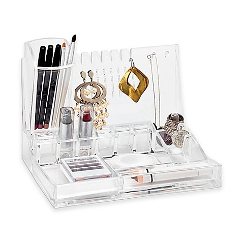 Deluxe cosmetic and jewelry holder in clear for Bathroom jewelry holder