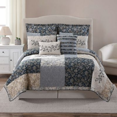 Salisbury Pieced King Quilt in Blue