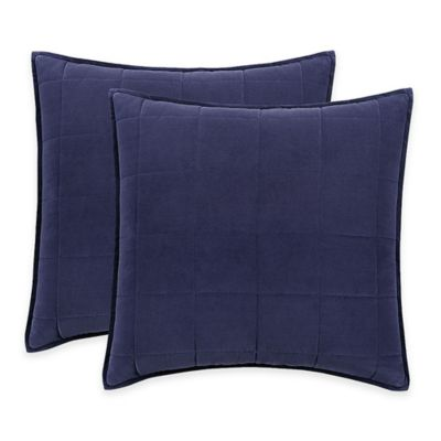 Hotel Embroidery European Pillow Sham in Blue