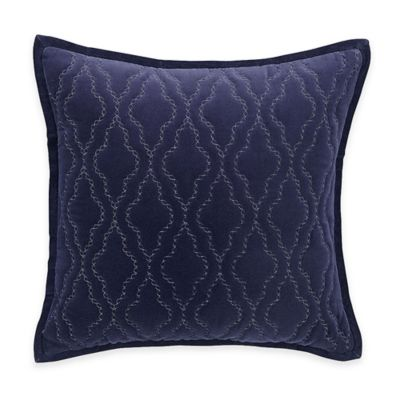 Hotel Embroidery Square Throw Pillow in Blue