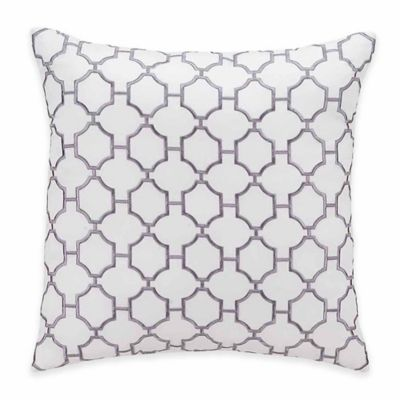 Hotel Embroidery Square Throw Pillow in White