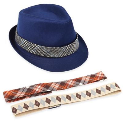 Rising Star™ Infant Fedora with Interchangeable Bands in Blue