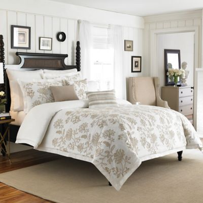 Croscill® Devon Reversible Twin Duvet Cover in Natural