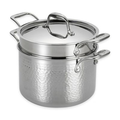 Lagostina Martellata Tri-Ply Stainless Steel 6 qt. Covered Pastaiola with Pasta Insert