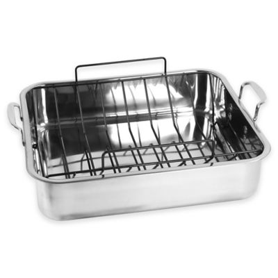 Oneida® Stainless Steel 15.7-Inch 13.5-Inch Rectangular Roaster with Nonstick U-Rack