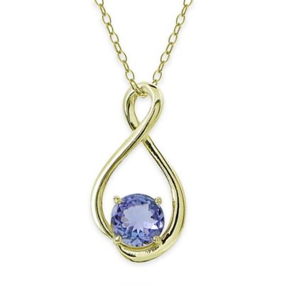 18K Yellow Gold Plated 18-Inch Chain Teardrop Tanzanite Drop Pendant Necklace