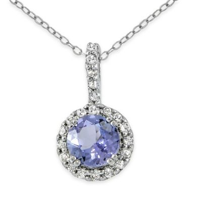 Sterling Silver Tanzanite and Created White Sapphire 18-Inch Chain Round Pendant Necklace