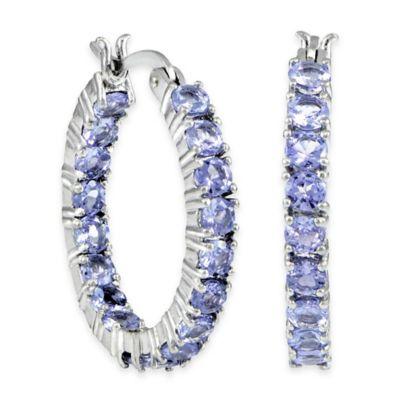 Sterling Silver Tanzanite 3mm Inside Out Hoop Earrings