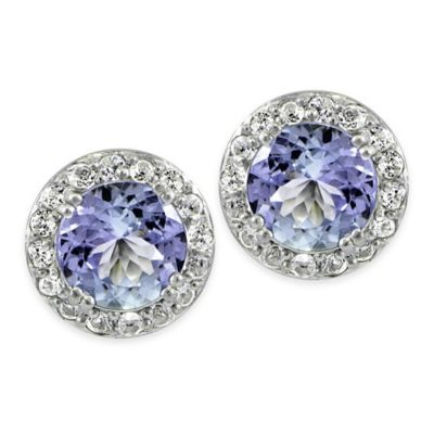 Sterling Silver Tanzanite and Created White Sapphire Round Stud Earrings