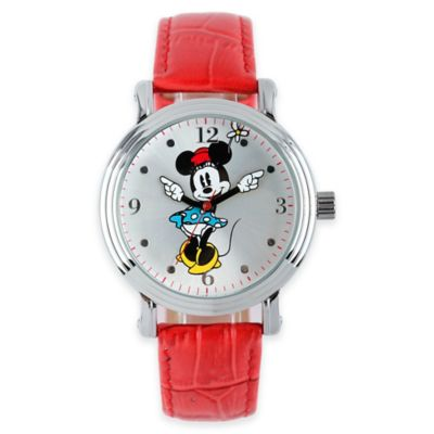 Disney® Ladies' 38mm Vintage Minnie Mouse Watch with Red Strap