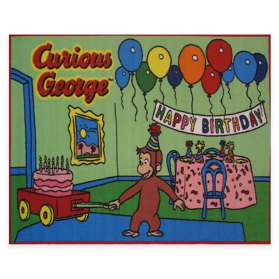 Fun Rugs Curious George Birthday 4-Foot x 6-Foot Area Rug